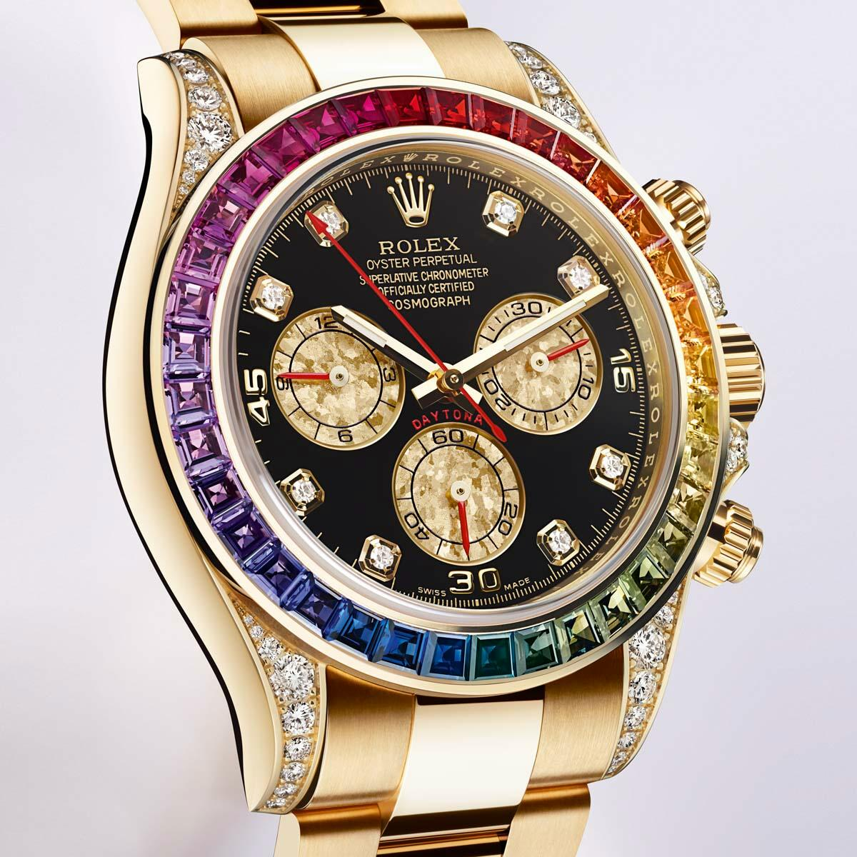 The colors of the rainbow   Daytona Rainbow Watch by Rolex